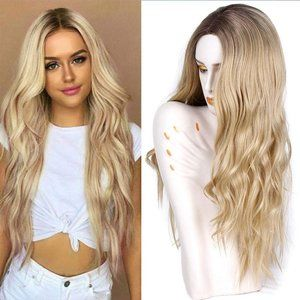 Long Wavy Synthetic Wigs Middle Part Natural